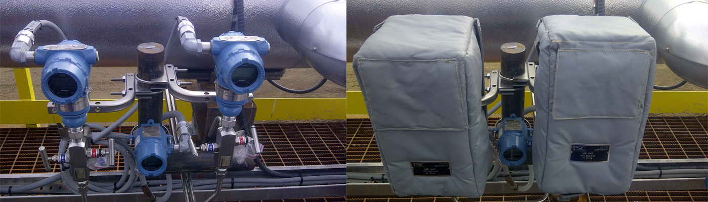 before and after image showing the gauges protected using insulated soft covers